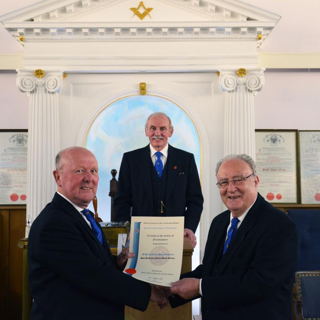 At our regular Lodge meeting on Monday 27th of October Fred was presented with his 50 years in freemasonry Certificate by W Bro Trevor Sturt Assistant Provincial Grand Master with Worshipful Master Rod Hinton in centre